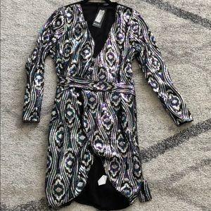 Nasty Gal Sequin Midi Wrap Dress